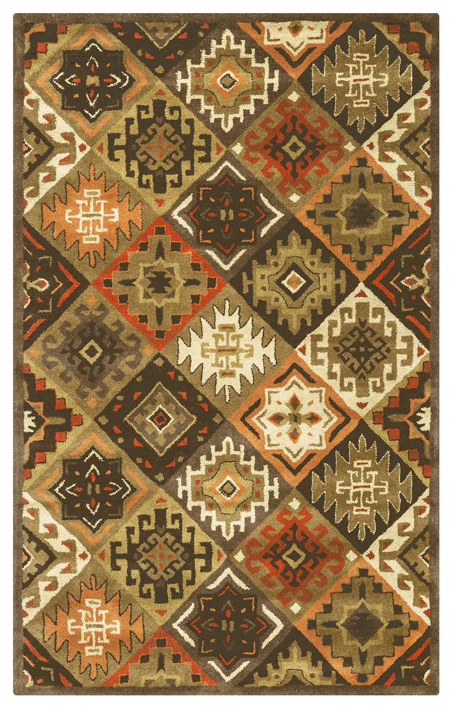 Southwest Diamond Tribal Wool Area Rug In Orange Red Tan