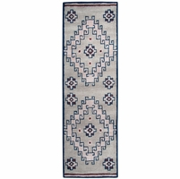 """Home Southwest Soft Wool Runner Area Rug 2'6""""x 8'Grey Navy Blue Red Brown Tribal"""
