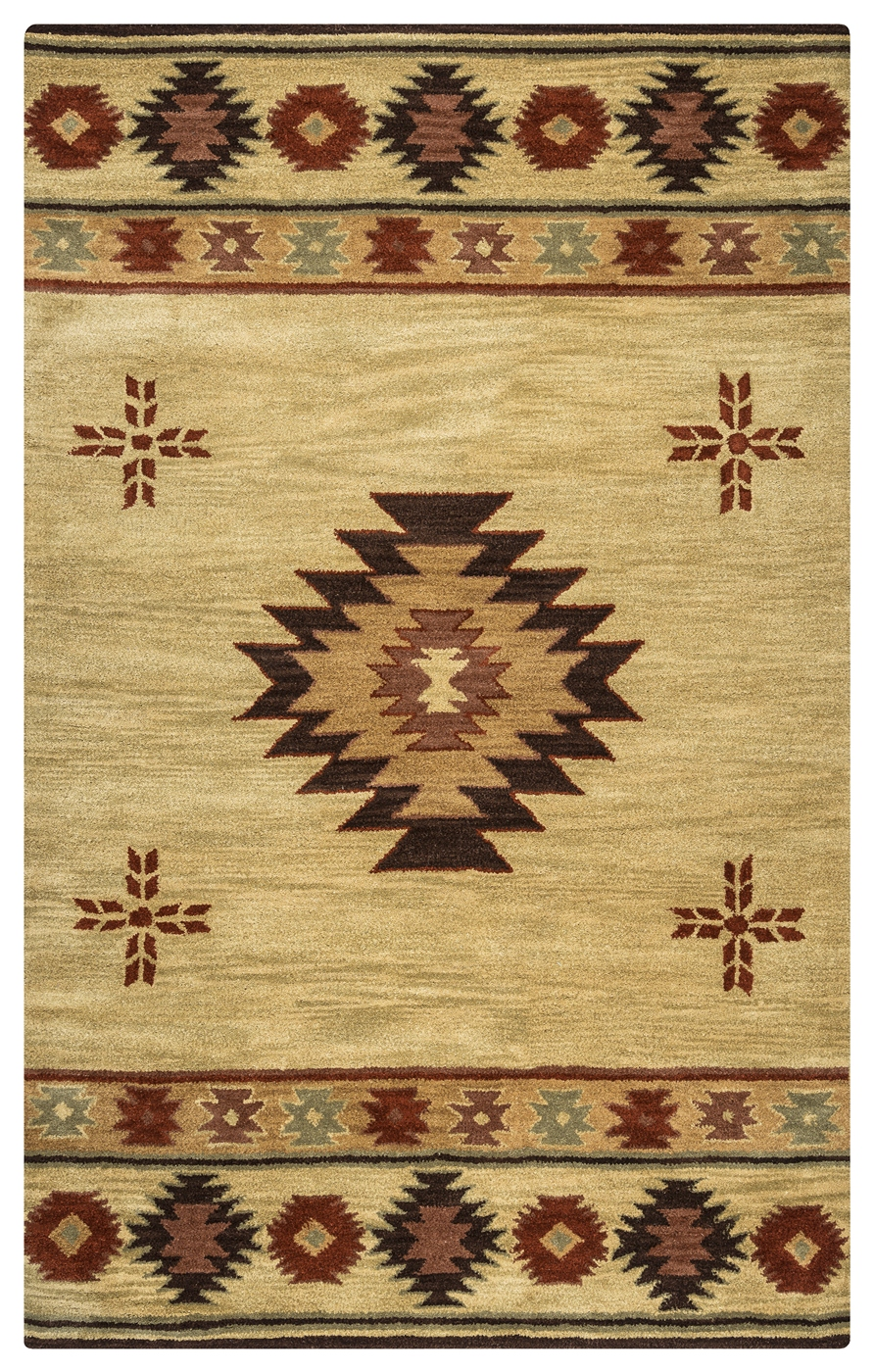 Southwest Indian Pattern Wool Area Rug In Khaki Brown Red