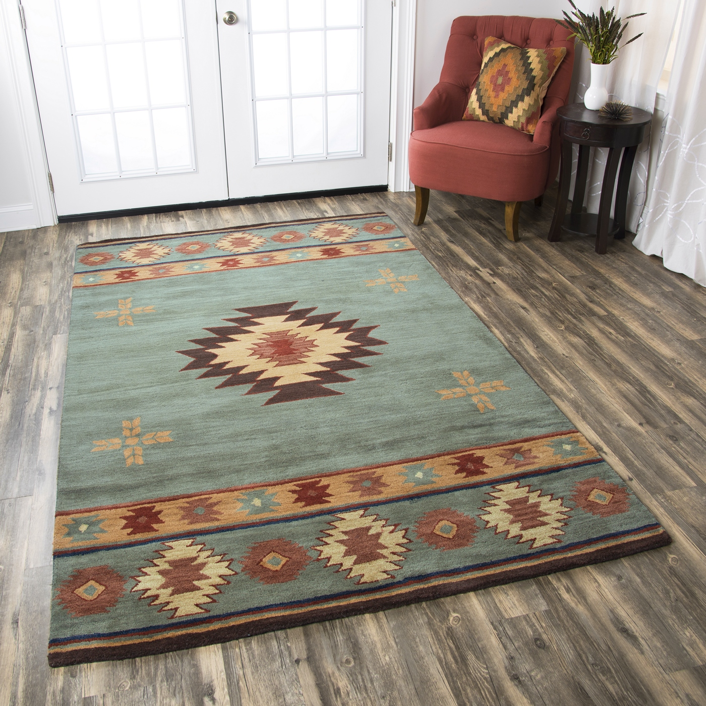 Southwestern Large Area Rug: Southwest Indian Pattern Wool Area Rug In Gray Blue Rust