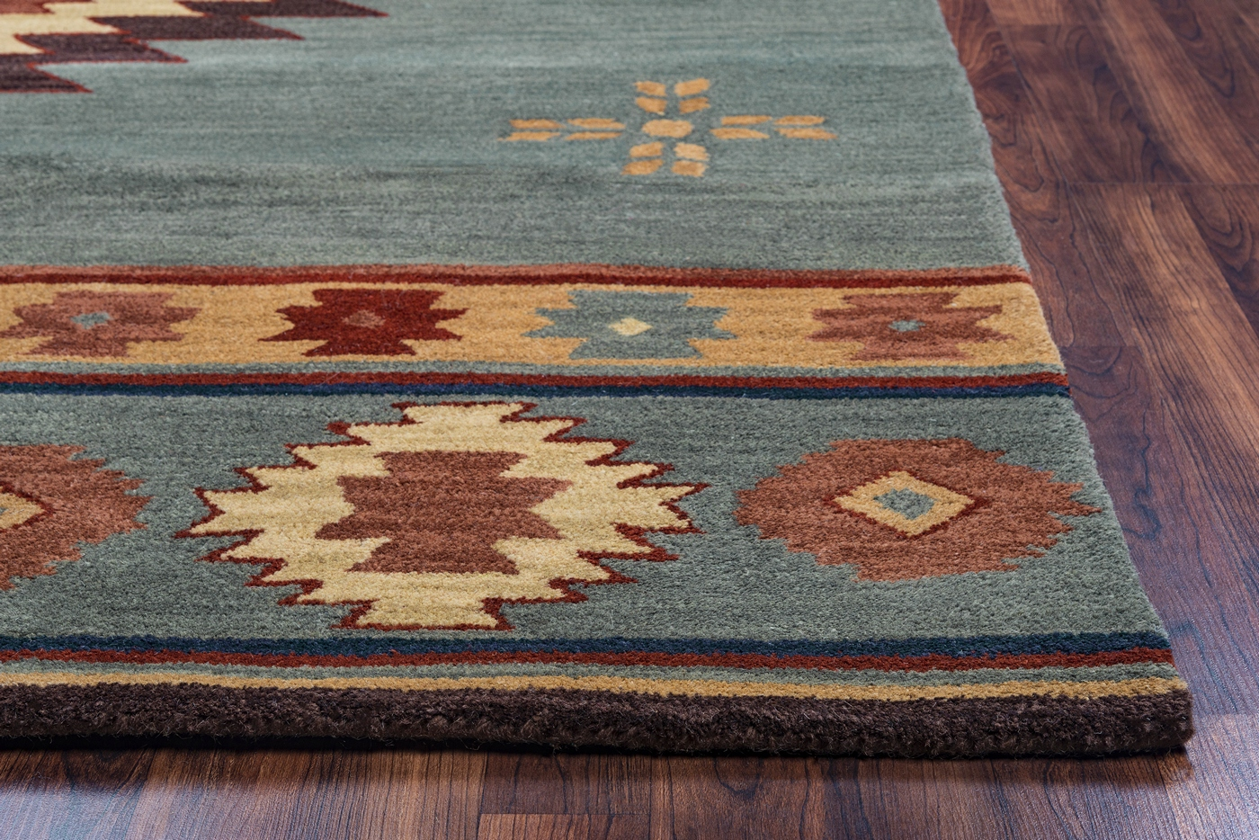 Southwest Indian Pattern Wool Area Rug In Gray Blue Rust