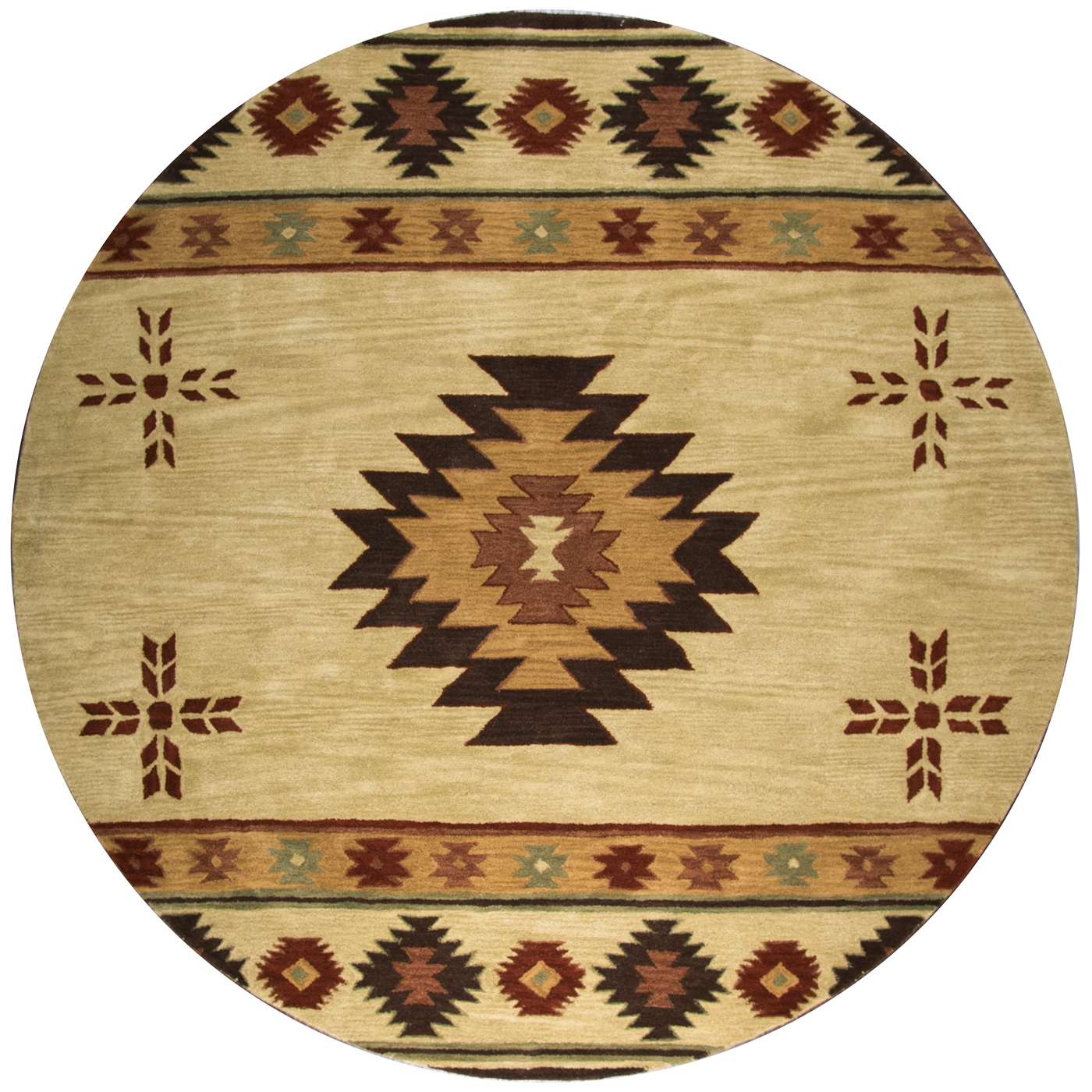 Southwest Indian Pattern Wool Round Rug In Khaki Brown Red