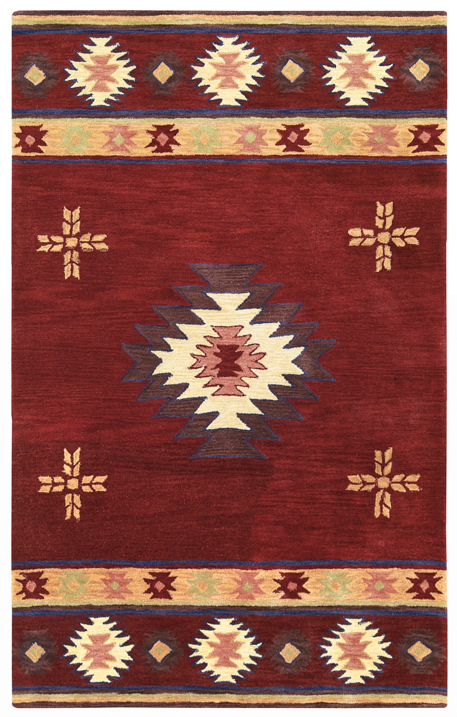 Southwest Indian Pattern Wool Area Rug In Red Tan Sage