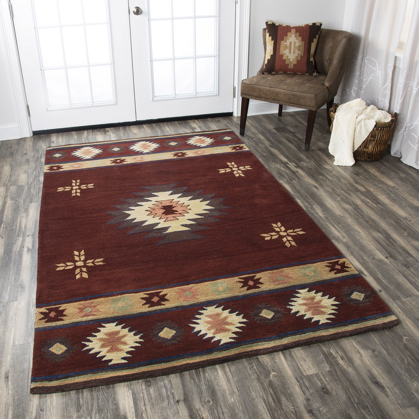 Tribal Rug Nz: Southwest Indian Pattern Wool Area Rug In Red Tan Sage
