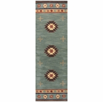 """Rizzy Southwest Soft Wool Runner Area Rug 2'6""""x 8'Grey Blue Brown Red Tan Tribal"""