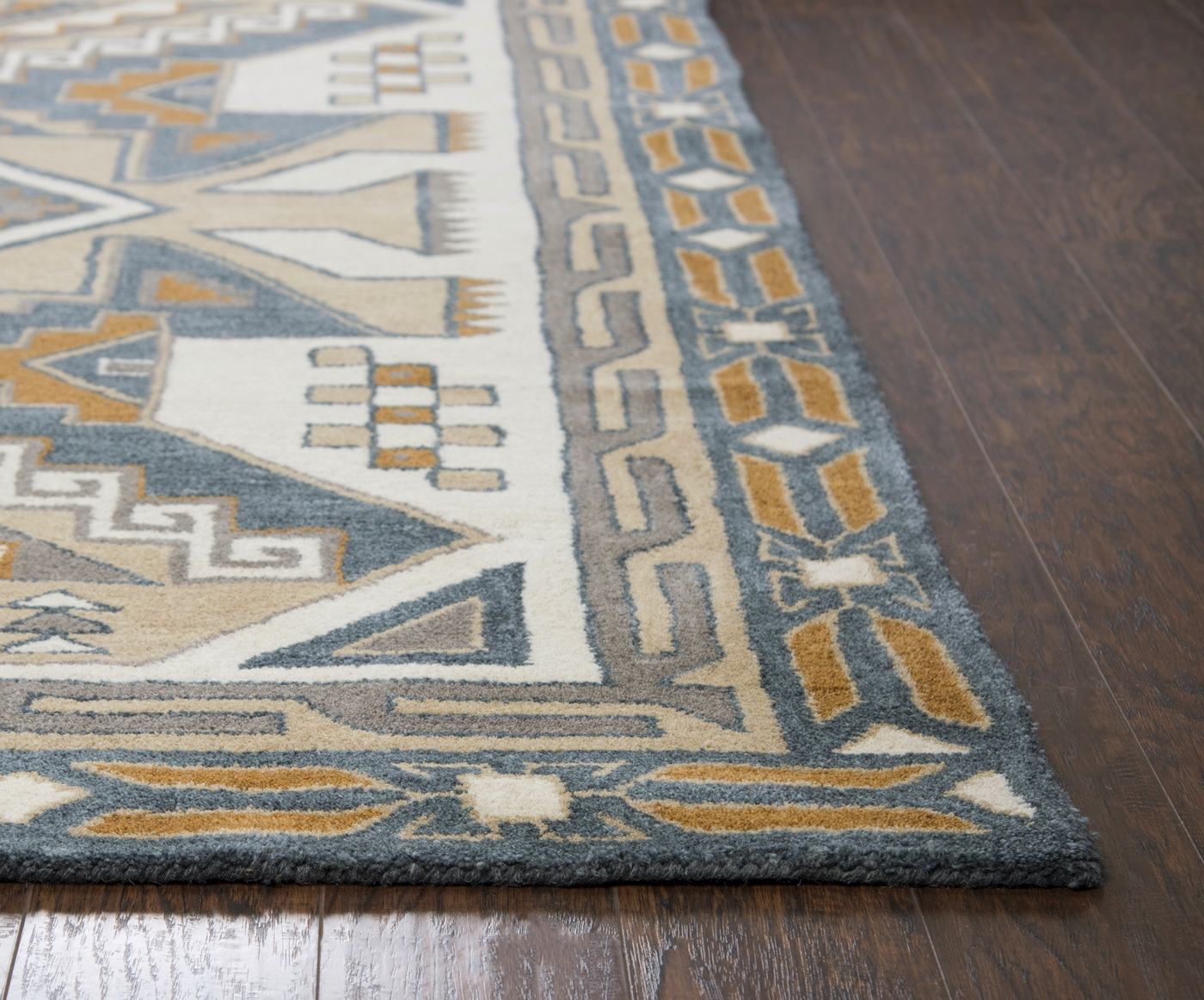 Southwest ornate aztec wool area rug in gray tan 8 39 x 10 39 for Grey and tan rug