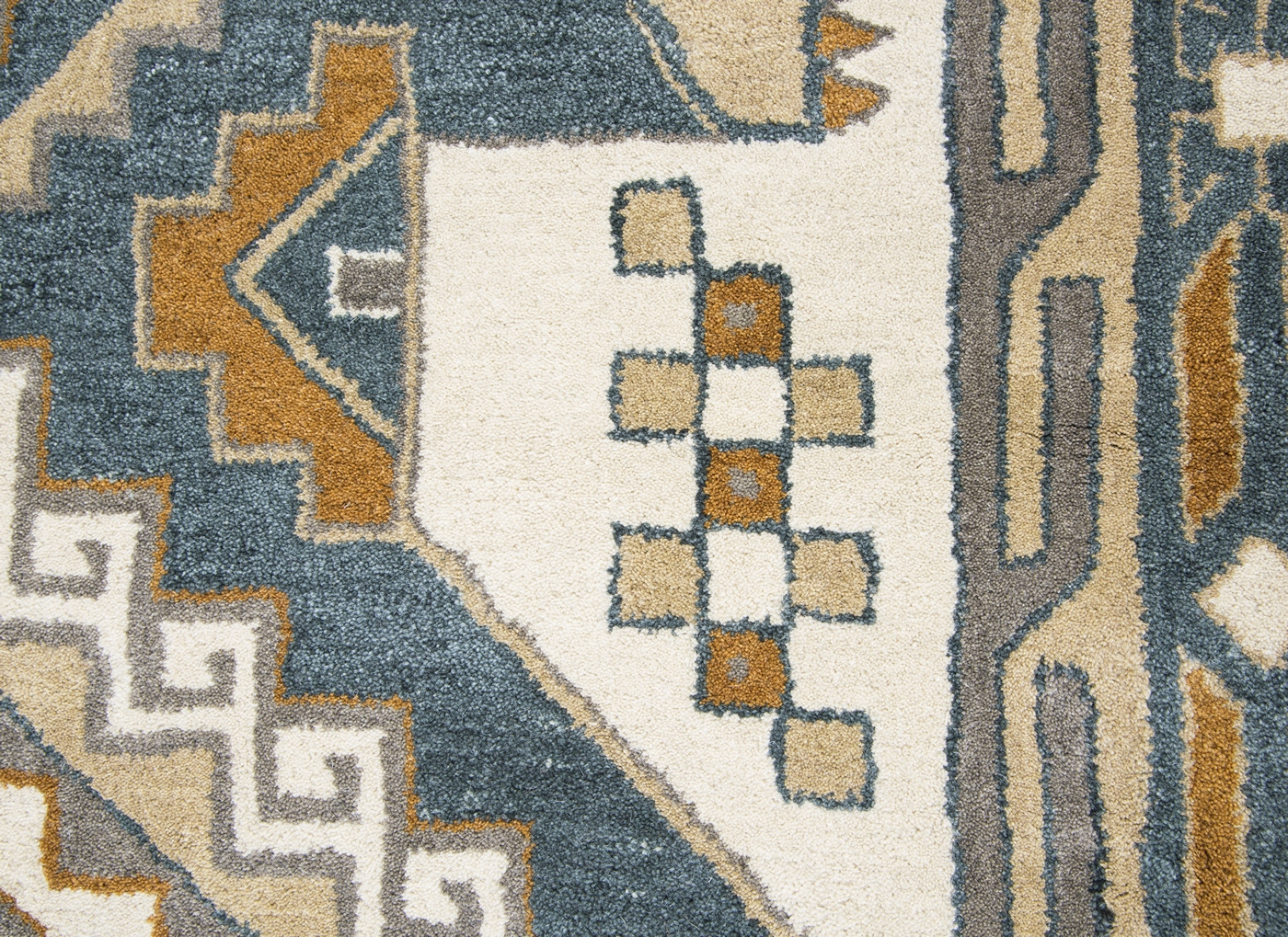 Grey Tan And Brown Area Rug: Southwest Ornate Aztec Wool Area Rug In Gray & Tan, 9' X 12