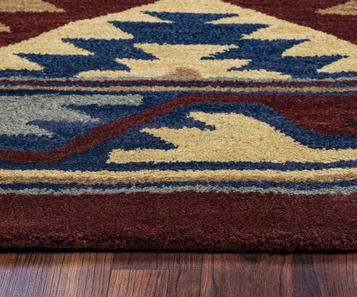 Grey Tan And Brown Area Rug: Southwest Southwest Motif Wool Area Rug In Red Navy Gray
