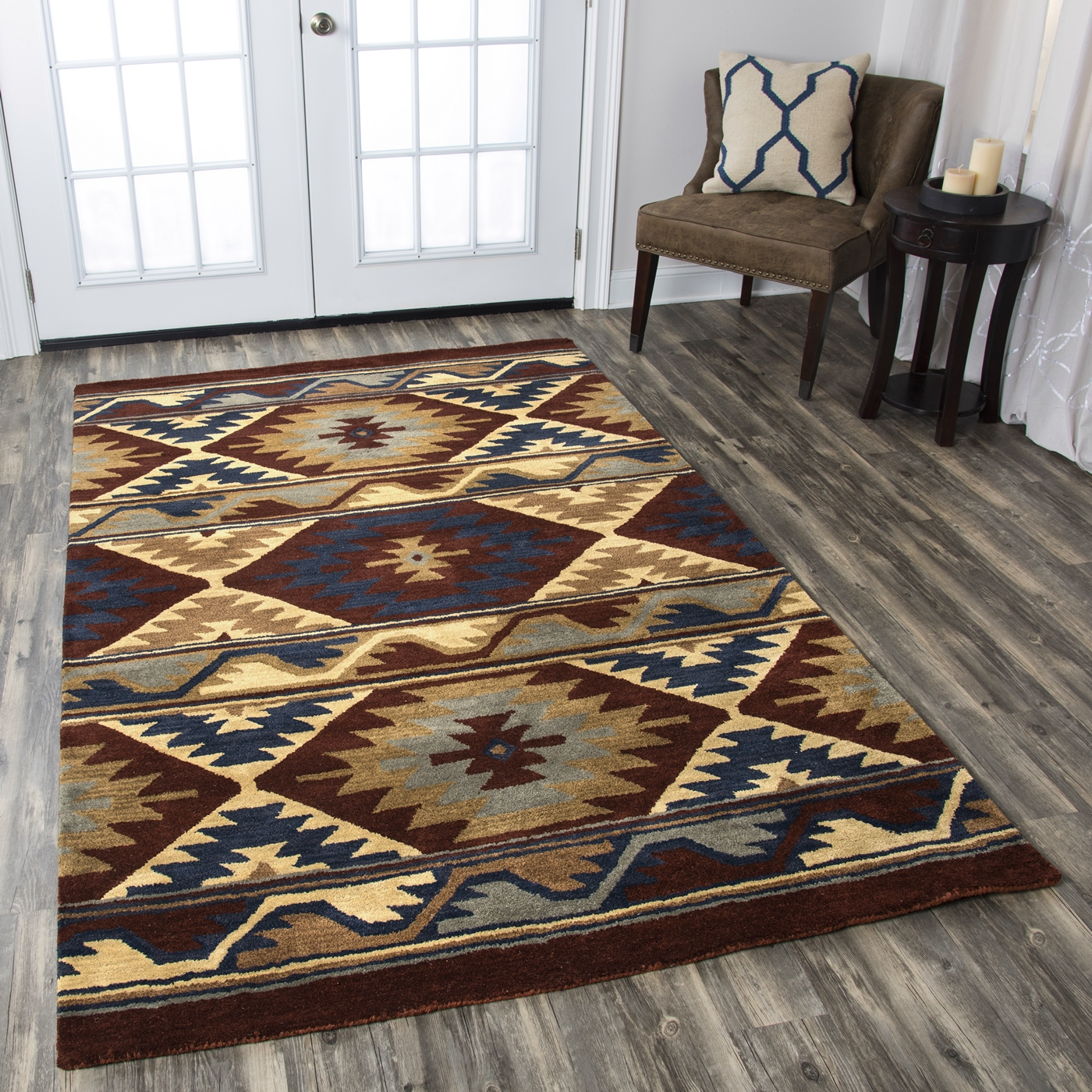 Southwest Southwest Motif Wool Area Rug In Red Navy Gray