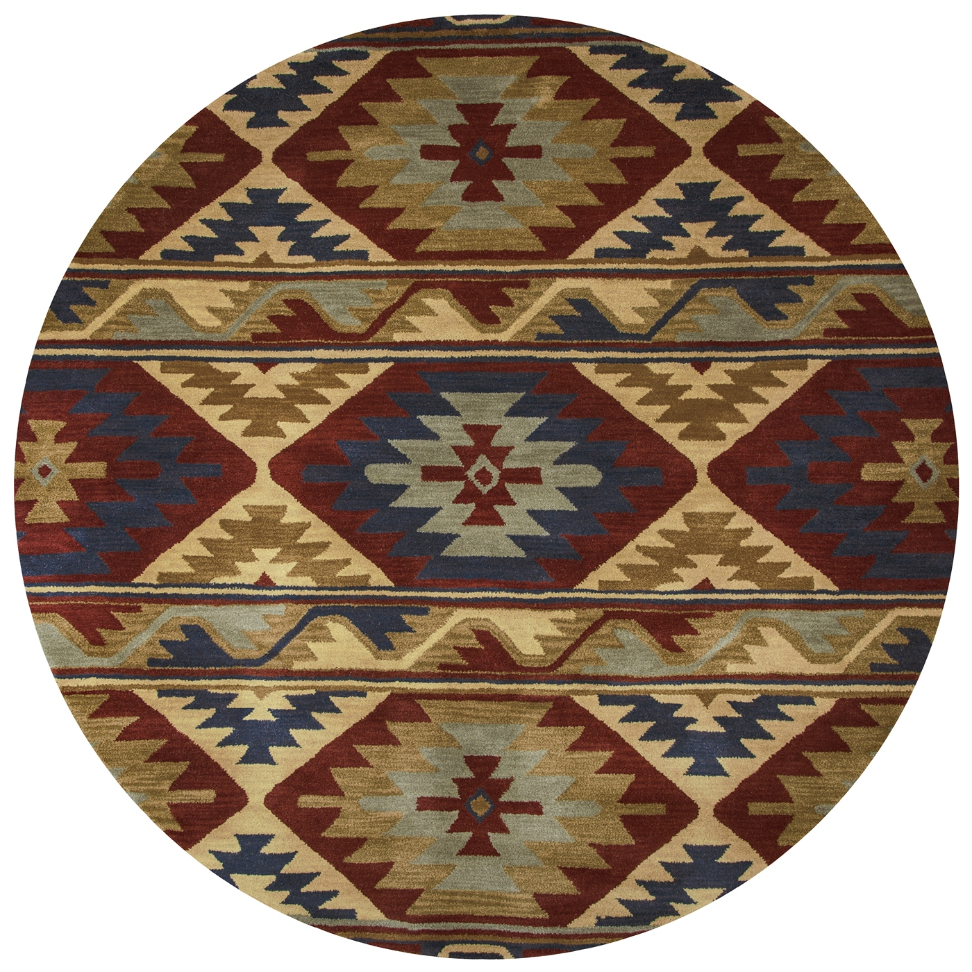 Southwest Southwest Motif Wool Round Rug In Red Navy Gray