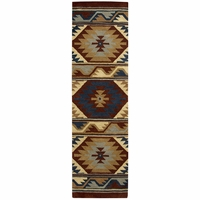 """Rizzy Southwest Soft Wool Runner Area Rug 2'6""""x 10'Red Navy Blue Grey Tan Tribal"""