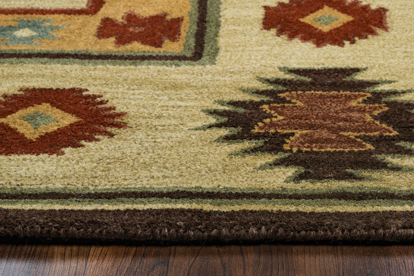 Southwest Tribal Border Wool Area Rug In Tan Sage Navy Red