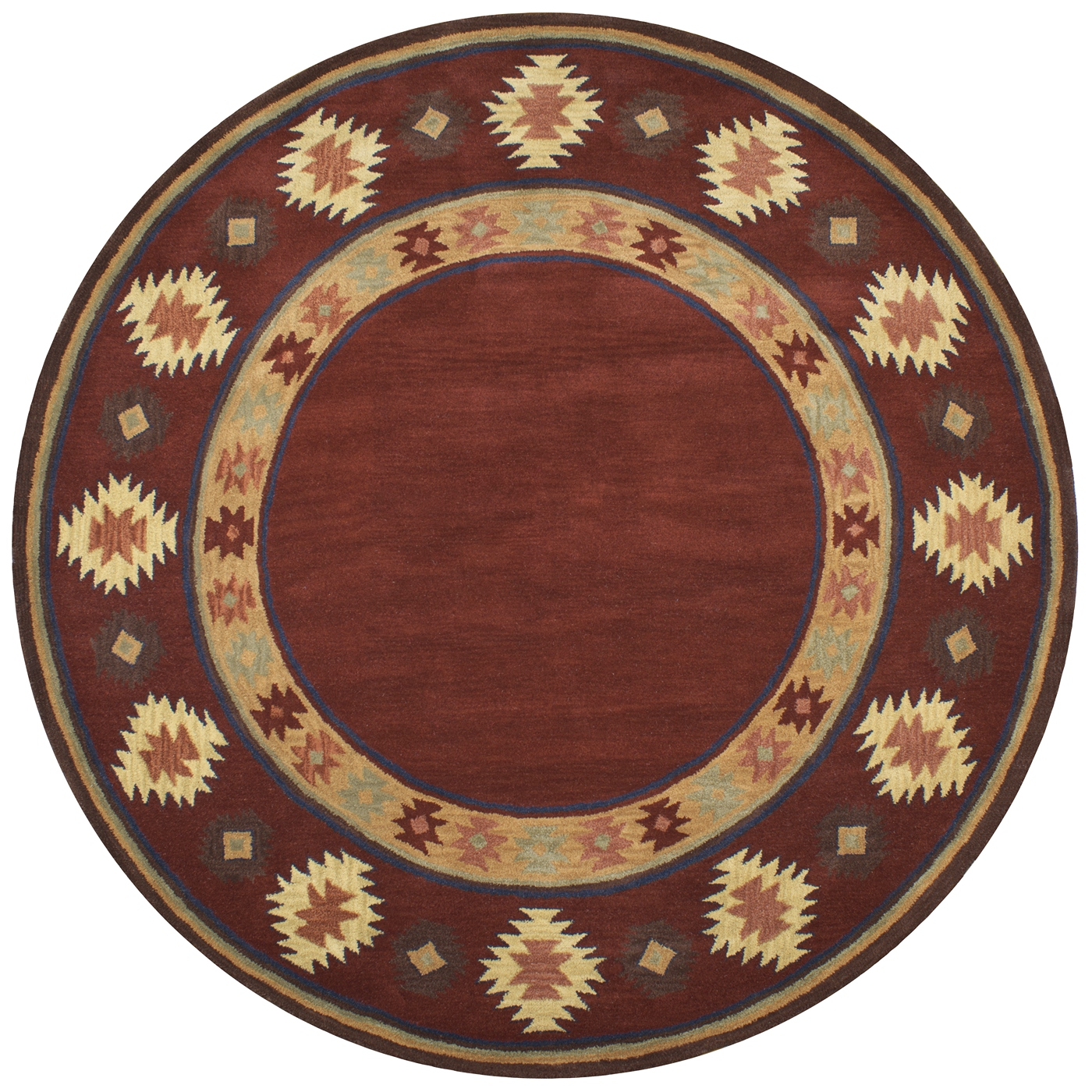 Southwest Tribal Border Wool Round Rug In Red Tan Rust