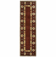 """Southwest Soft Wool Runner Area Rug 2'6""""x 8'Red Tan Navy Blue Green Brown Tribal"""