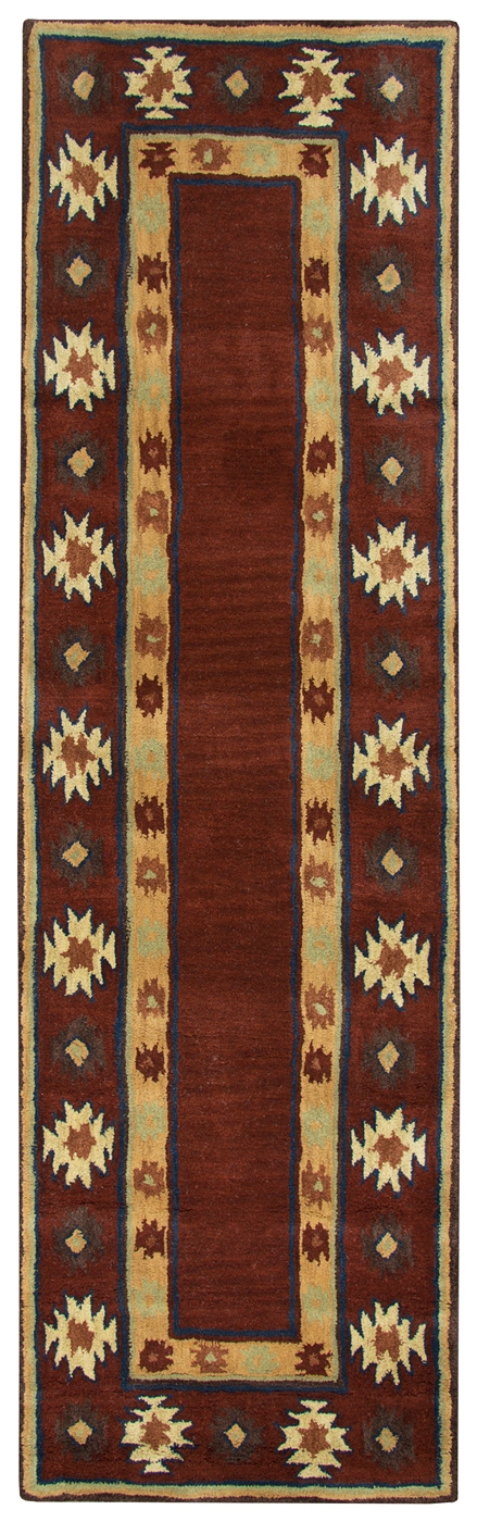 Southwest Tribal Border Wool Runner Rug In Red Tan Rust