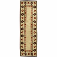 """Southwest Soft Wool Runner Area Rug 2'6""""x 8'Tan Green Brown Navy Blue Red Tribal"""
