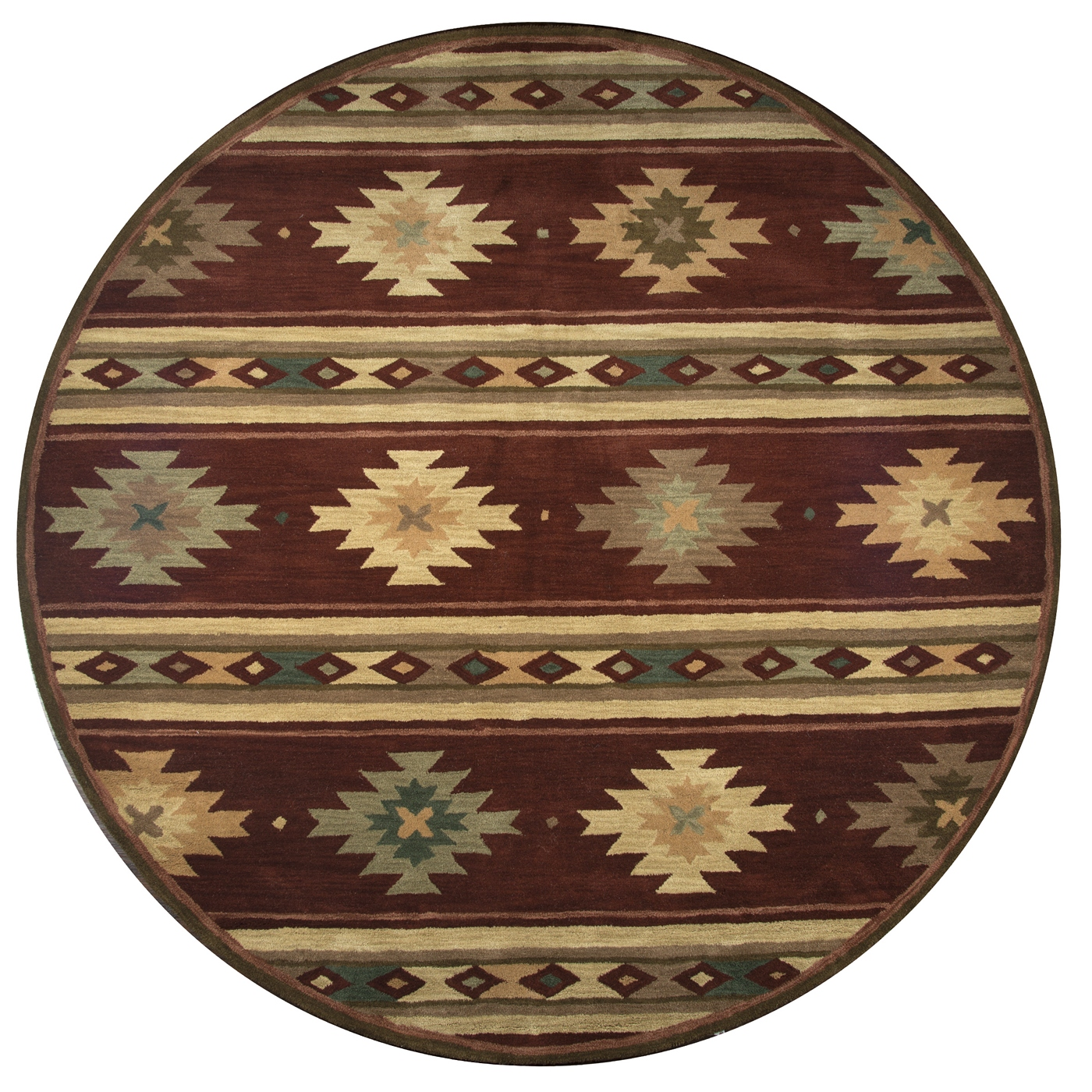 Southwest Tribal Ornamental Wool Round Rug In Red Tan Sage