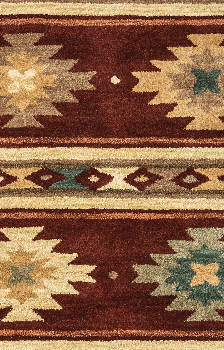Southwest Tribal Ornamental Wool Area Rug In Red Tan Sage