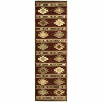 """Southwest Soft Wool Cotton Runner Area Rug 2'6""""x 8' Red Tan Green Brown Tribal"""