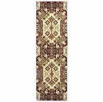"""Southwest Soft Wool Runner Area Rug 2'6""""x 8' White Red Blue Green Brown Tribal"""