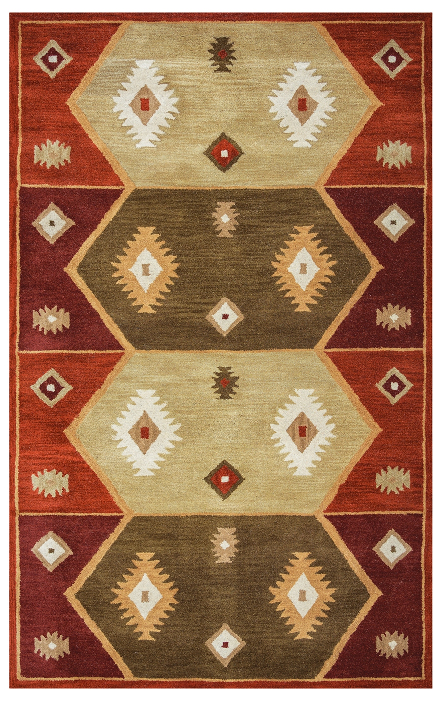 Southwest Tribal Totem Pattern Wool Area Rug In Green