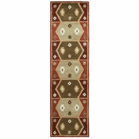 """Southwest Soft Wool Cotton Runner Area Rug 2'6""""x 8' Green Tan Brown Red Tribal"""