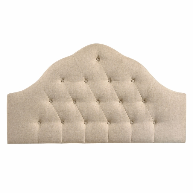 Sovereign French-inspired Button-tufted King Fabric Headboard, Beige