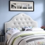 Sovereign French-inspired Button-tufted King Faux-leather Headboard, White