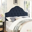 Sovereign French-inspired Button-tufted Queen Fabric Headboard, Navy