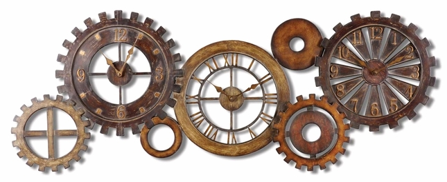 Spare Parts Antique Dark Chestnut Brown and Silver Wall Clock  06788