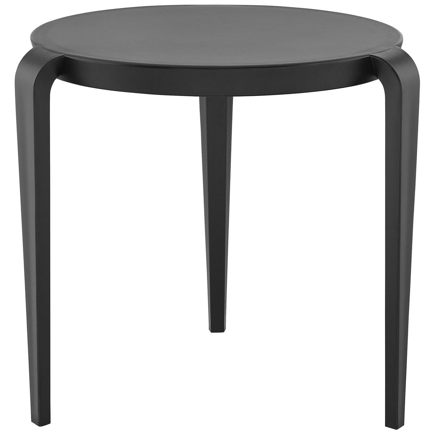spin contemporary 3 legged round plastic side table black eei 1712 blk
