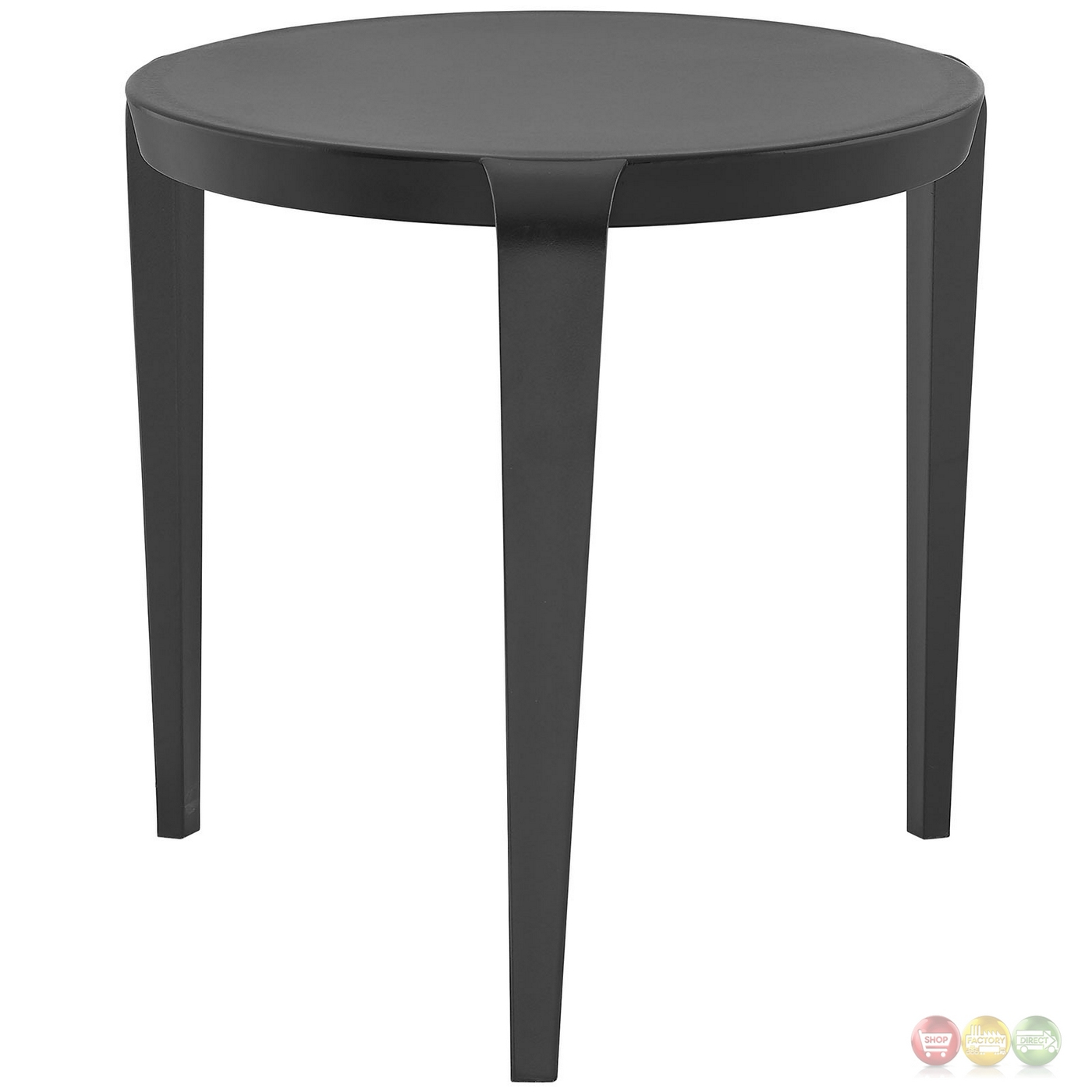 Spin contemporary 3 legged round plastic side table black for Black round end table
