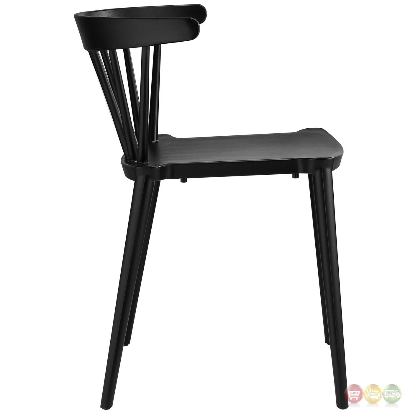 Spindle contemporary low back spindle accented side chair for Contemporary black dining chairs