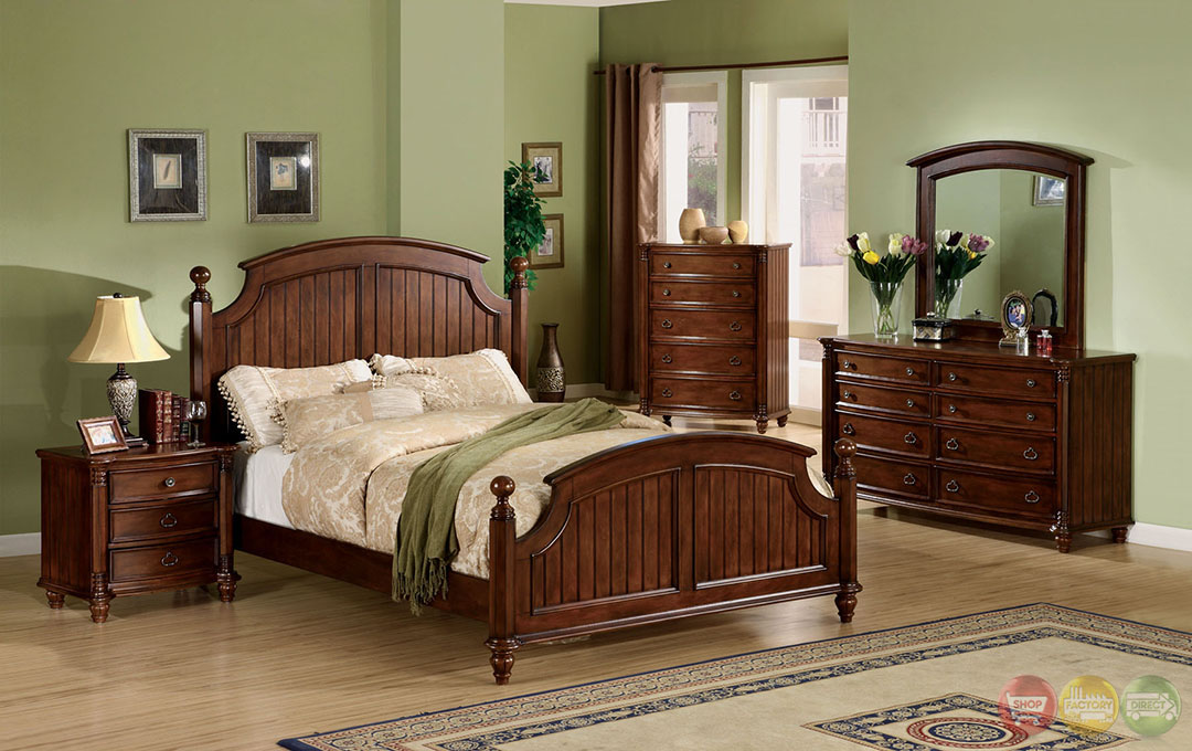 Spring Bay Cottage Brown Cherry Panel Bed Bedroom Set With Antique Gold Knobs Cm7230