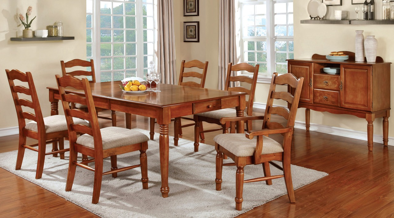 Country style dining room set oak formal dining room set for Fancy dining room sets