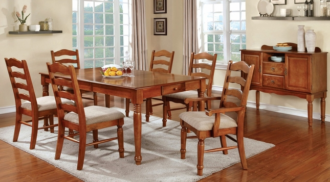 country style dining room set | oak formal dining room set