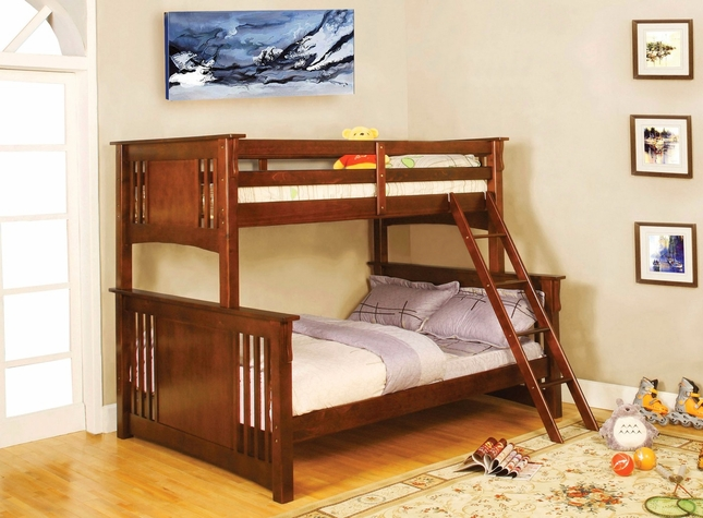 Spring Creek I Mission Oak Bunk Bed with Angled Ladder