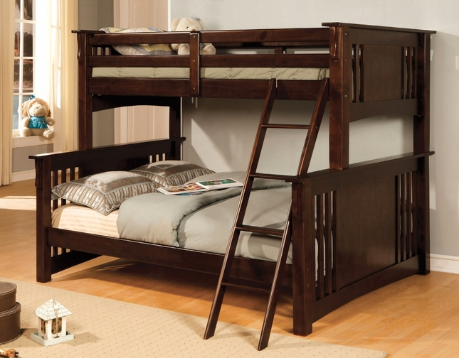 Spring Creek II Mission Dark Walnut Bunk Bed with Angled Ladder