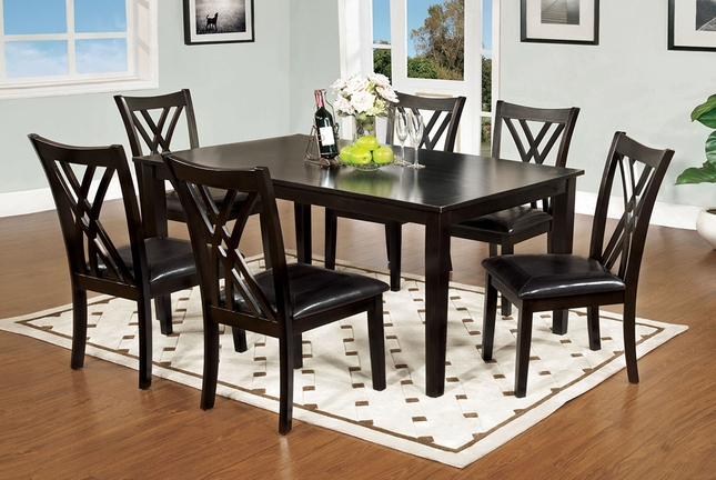 Springhill Contemporary Espresso 7 pc Casual Dining Set Padded Faux Leather Seats