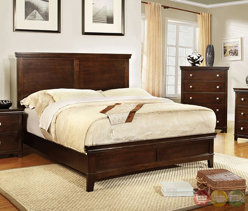 Transitional Bedroom Furniture: Spruce Transitional Brown Cherry Bedroom Set With Brushed