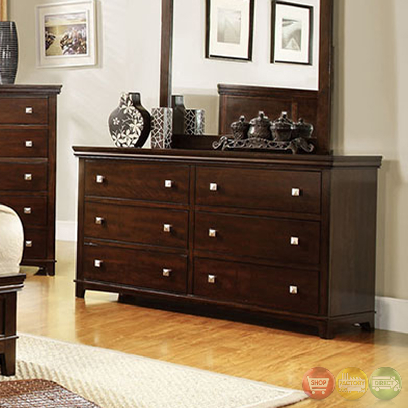 Spruce transitional brown cherry bedroom set with brushed for Transitional bedroom furniture