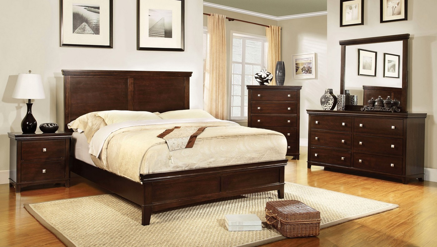 silver bedroom sets spruce transitional brown cherry bedroom set with brushed 13152