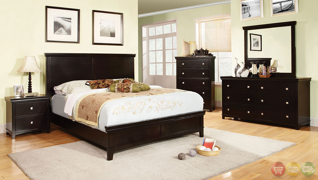 Spruce Transitional Espresso Bedroom Set With Brushed Silver Pulls Cm7113ex