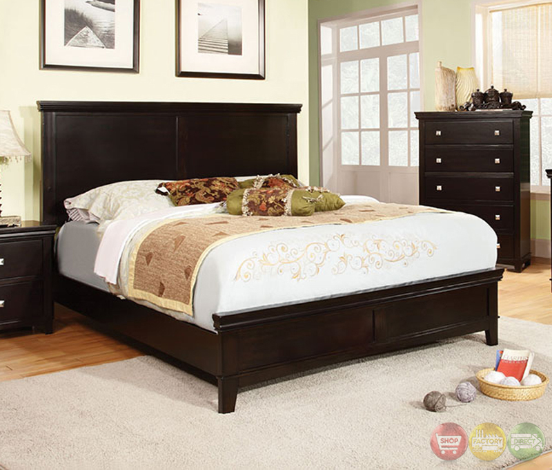 Spruce transitional espresso bedroom set with brushed for Transitional bedroom furniture