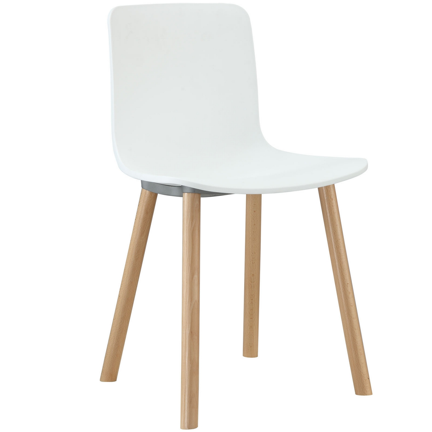 Sprung modern molded plastic side chair with wood dowel for Plastic modern chairs