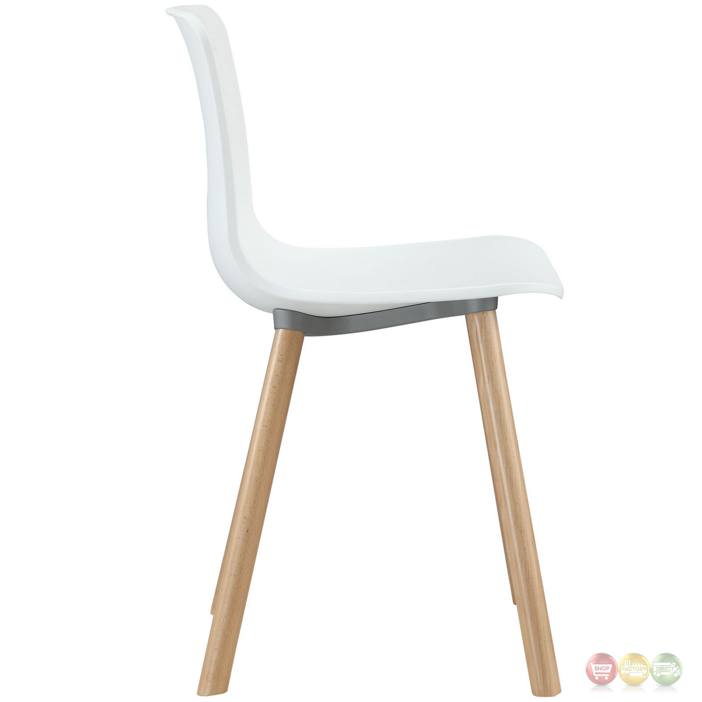 sprung modern molded plastic side chair with wood dowel legs white. Black Bedroom Furniture Sets. Home Design Ideas