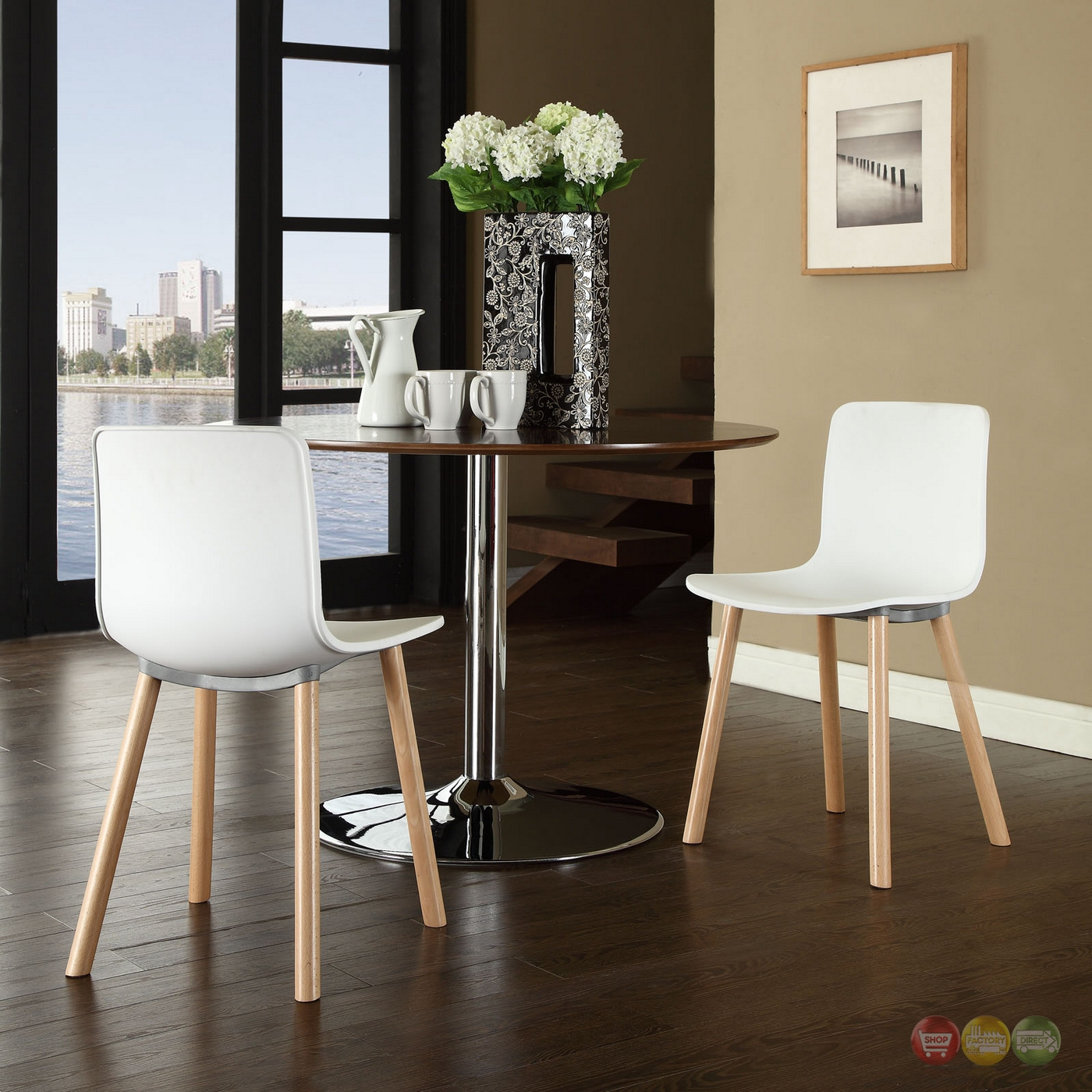 Sprung Modern Molded Plastic Side Chair With Wood Dowel