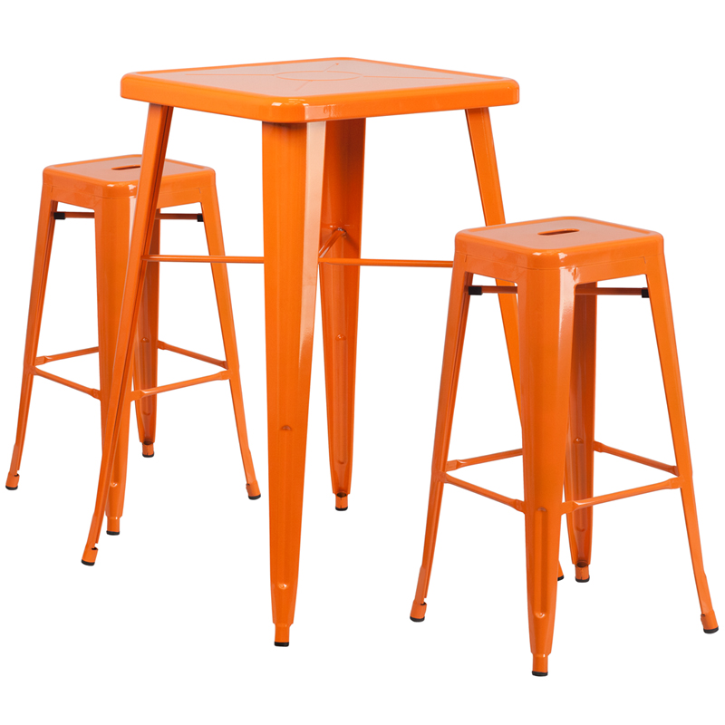 Square Orange Metal Outdoor Bar Table Set W 2 Square Seat