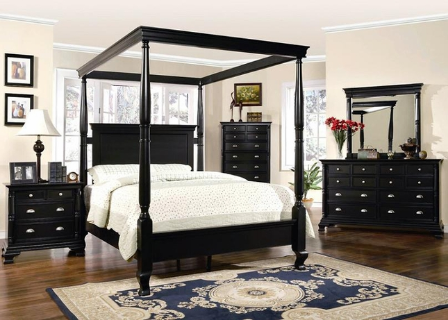 St Regis Canopy Bed Distressed Black Finish Bedroom Furniture Set & Black Bedroom Furniture Set | St Regis Canopy Bed