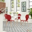 Stack Modern 5pc Round Two-toned Dining Chairs With Wood Table, Red